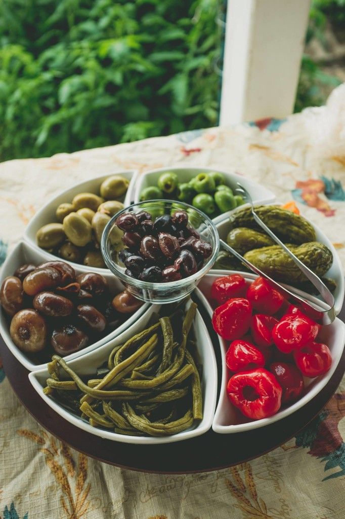 Olives and pickled veggies.