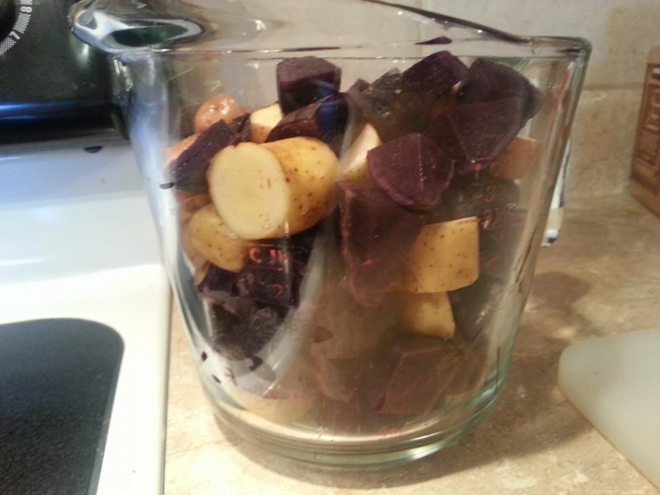 Purple, red, and yukon fingerling potatoes, cut into bite-size pieces.