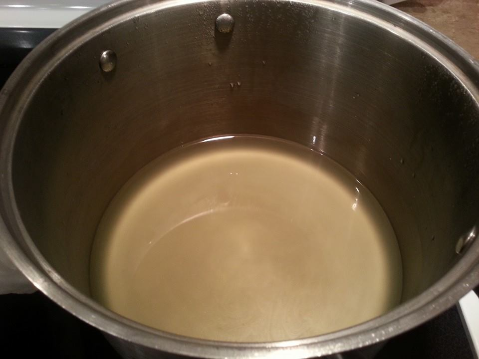 The whey that drains out of the cheese -- caught in the pot that was under the colander.