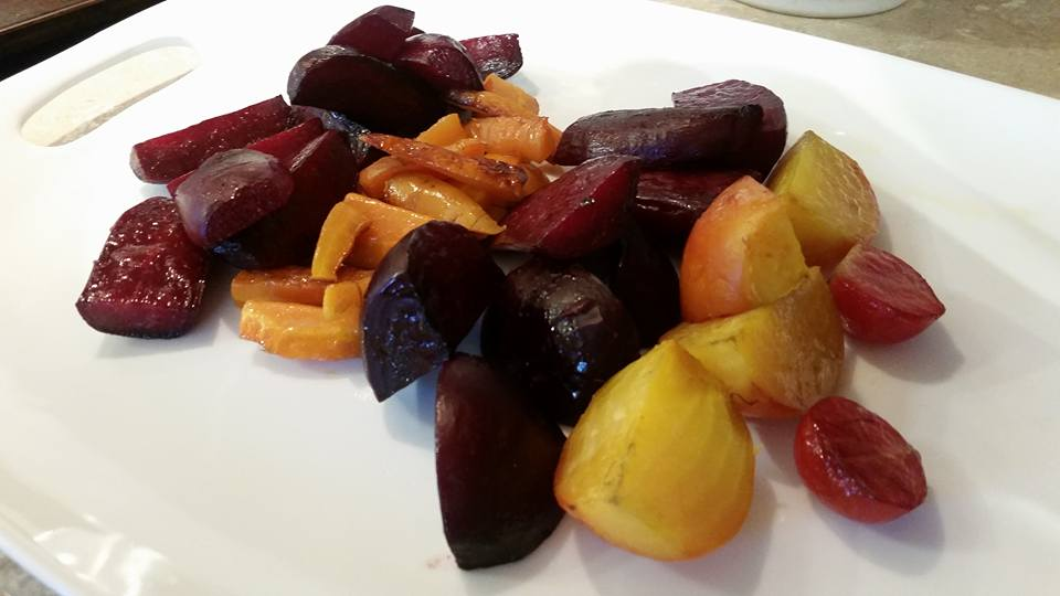 Bull's Blood and Cylindra beets, carrots, Golden and Chioggia beets